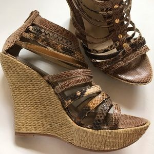 "4"" WEDGE STRAPPY HEEL WITH REPTILE & METALLIC VIBE"